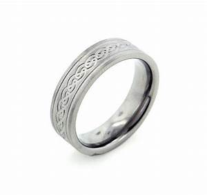 6mm Wide Mens And Womens Titanium Etched Celtic Knot
