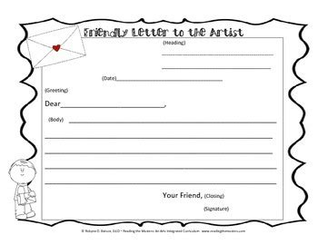 friendly letter graphic organizer  reading  masters tpt