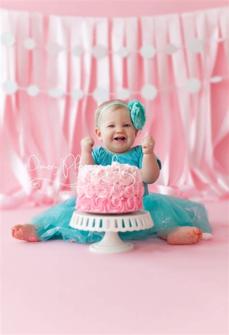 baby girls teal  pink cake smash  dimery photography