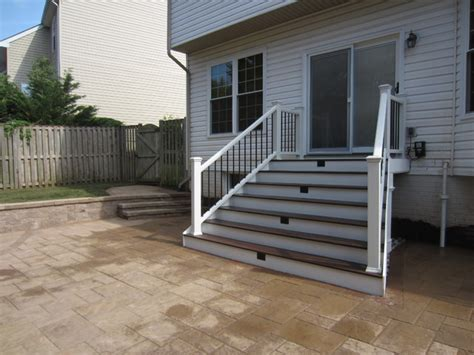 techo bloc patio with pit and custom trex landing and