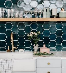 the hex tile is so stupid amazing loving the peacock blue With kitchen cabinet trends 2018 combined with cd sticker labels