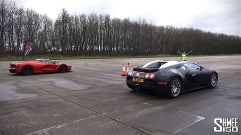Bugati Vs Plane by Drag Race Laferrari Vs Bugatti Veyron Vmax Stealth