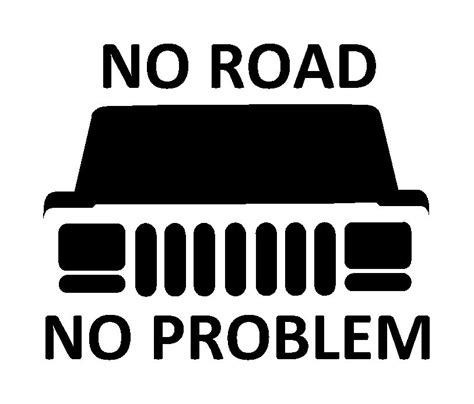 white and blue jeep no road no problem xj vinyl decal fd1043