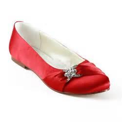 fashion red flat heels round toe wedding bridal shoes