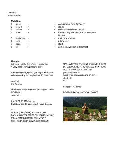 Richard rodgers (music) and oscar hammerstein ii (lyrics). Song Worksheet: Do-Re-Mi from The Sound of Music (Beginners)