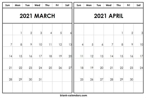 march april  calendar  blank printable template