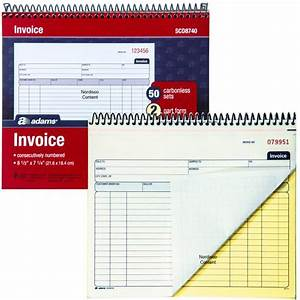 adams scd8740 invoice book 2 part carbonless 50 sets With adams carbonless invoice books