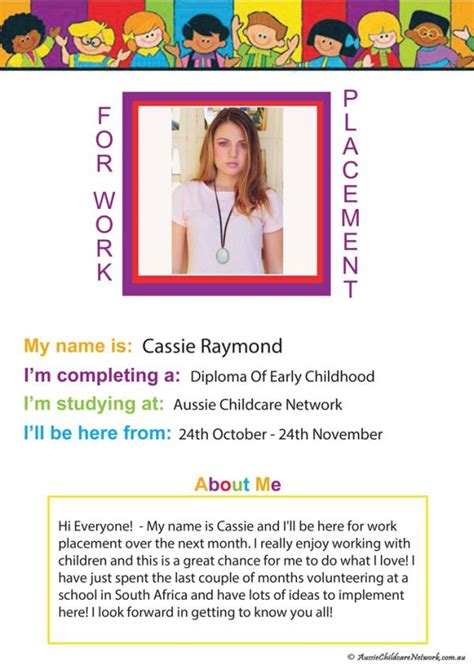 work placement poster  students aussie childcare network
