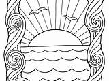 Sunset Coloring Colouring Printable Ocean Popular Colorings Getcolorings sketch template