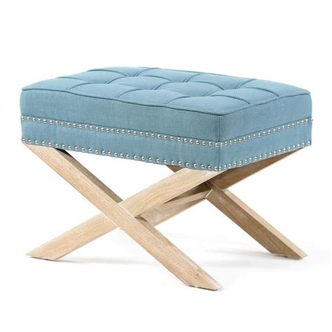 Stools And Ottomans - teal blue ottoman stool with oak legs black mango