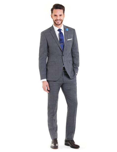 mens grey navy prince  wales check extra slim fit