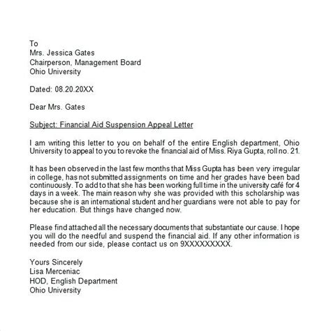 financial aid appeal cover letter awesome financial aid appeal letter sle cover letter
