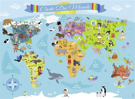 puzzle xx pieces world map  french nathan