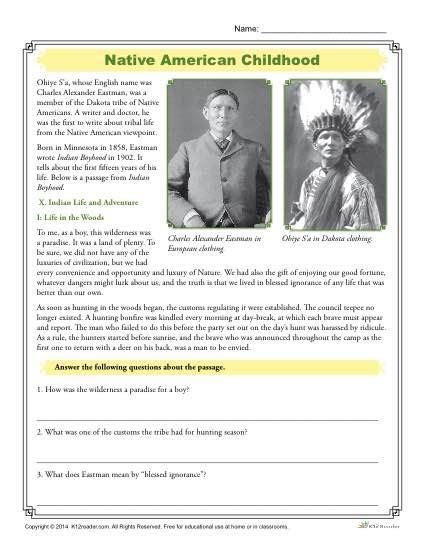 Native American Childhood  Comprehension Activity
