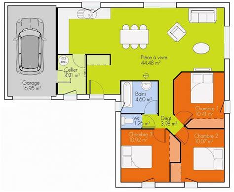 plan de maison 3 chambres plain pied plan maison 3 chambres plain pied