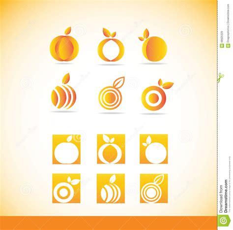 fruit orange logo icon set stock vector image