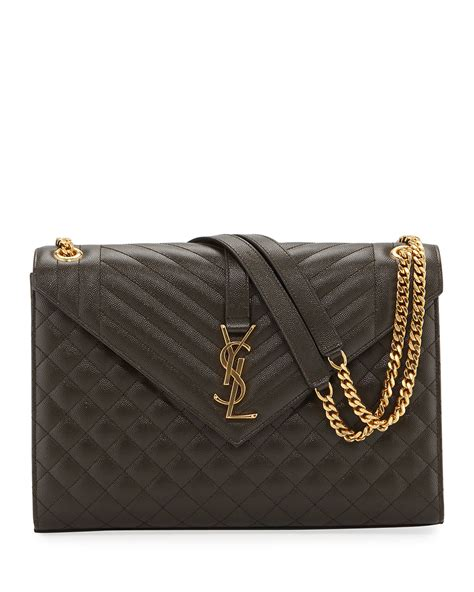 saint laurent monogram ysl  flap large tri quilt envelope