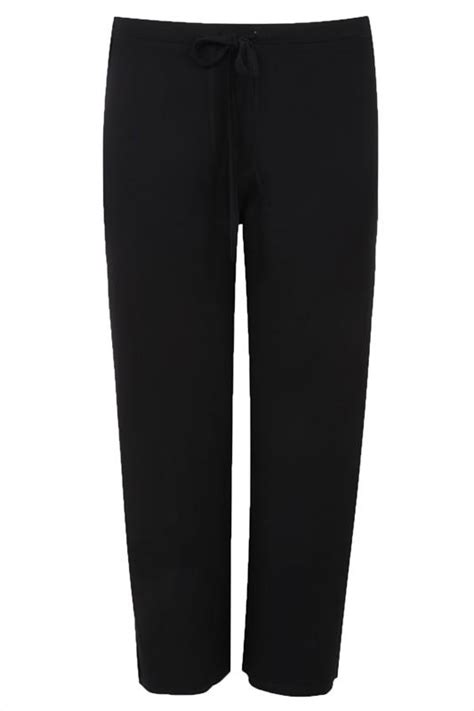 black wide leg pull  stretch jersey yoga trousers