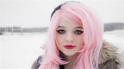 full hd wallpaper pink long hair winter mascara desktop backgrounds hd p