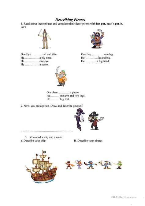 describing pirates worksheet  esl printable