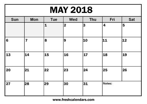 blank calendar template printable may 2018 calendar template pdf with holidays usa