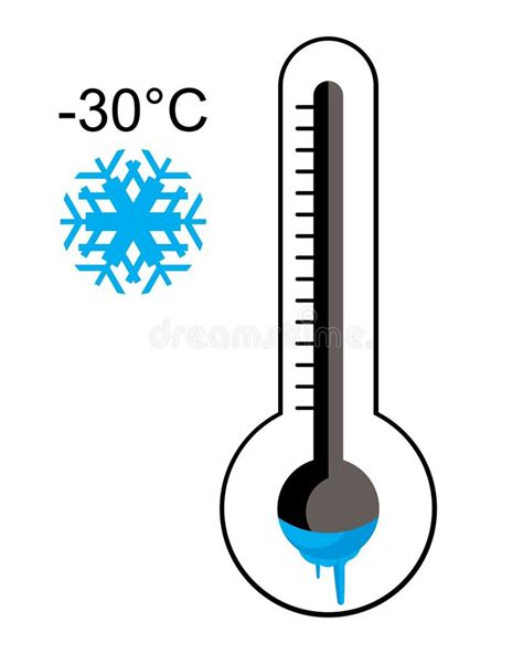 Ice cold thermometer stock vector. Illustration of mercury ...