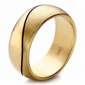 Custom Yellow Gold Brushed And Polished Men39s Wedding Band