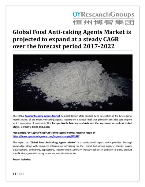 global food anti caking agents market  projected