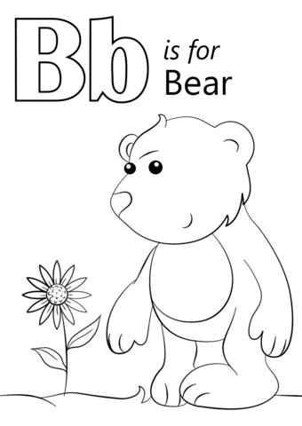 letter    bear coloring page  printable coloring pages