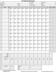 Little League Baseball Score Sheet