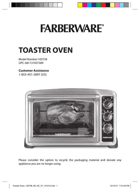 farberware  countertop convection oven user manual  pages