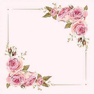 Vector Watercolor Painted Pink Wedding Flowers Border ...