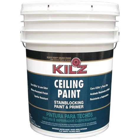 paint with primer kilz white flat 5 gal interior stainblocking ceiling paint and primer 68100 the home depot