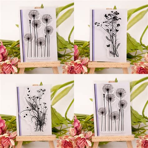 flower grass transparent silicone clear rubber stamp