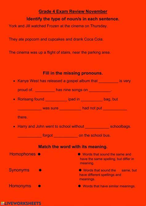grade  english review   year interactive worksheet
