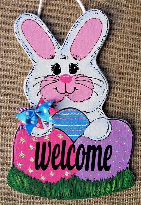 rabbit wall door sign hanger hanging bunny easter etsy easter door hanger bunny