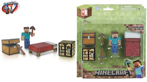 minecraft toys minecraft overworld survival pack crafting mod block steve playset toy review unboxing youtube