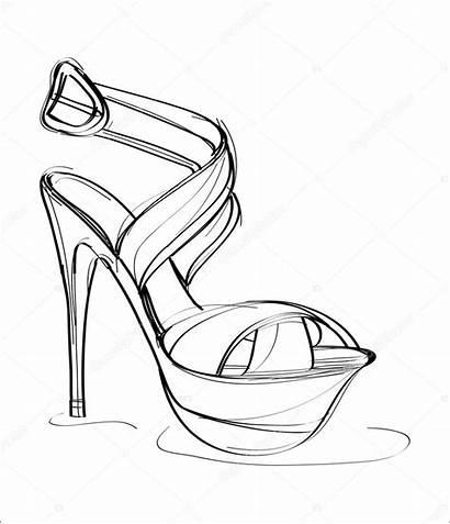 Heels Easy Template Coloring Shoe Sketch
