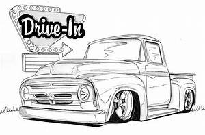 1956 ford mixed media vehicle line drawings pinterest With 1956 ford f100 4x4