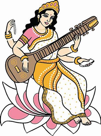 Saraswati Vector Goddess Clipart Hindu Clip Illustration