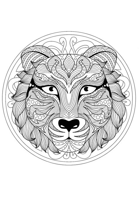 mandala  gorgeous wolf head  geometric patterns malas adult coloring pages