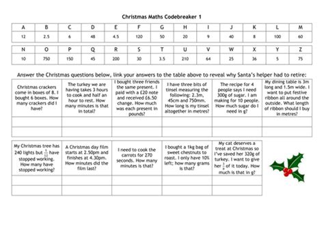 christmas codebreakers  alutwyche teaching resources tes