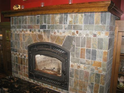 slate fireplace in the style of rookwood pottery