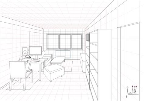 ongoing living room drawing   point perspective