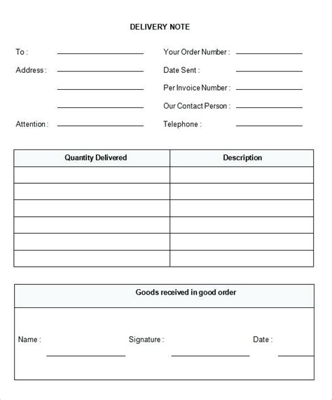 Standard Shipping Note Template by Delivery Template Standard Shipping Note Template Delivery