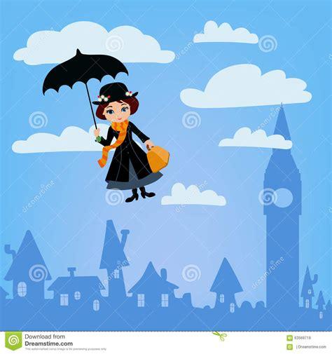 Poppins Clipart Poppins Flies Vector Illustration Stock