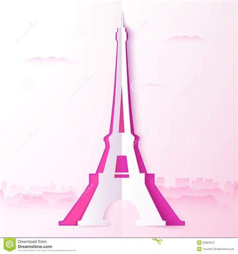 pink cutout paper vector  eiffel stock vector
