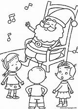 Coloring Christmas Singing Printable Santa Pages Listening sketch template