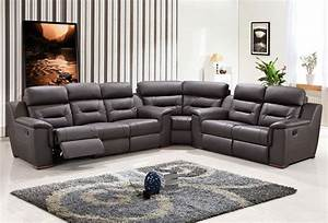 Contemporary reclining sectional sofa modern grey leather for Grey leather sectional sofa with recliners
