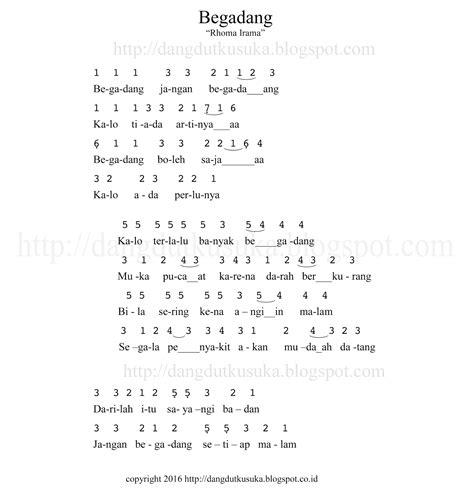 lagu begadang not angka lirik dan chord didangdutin